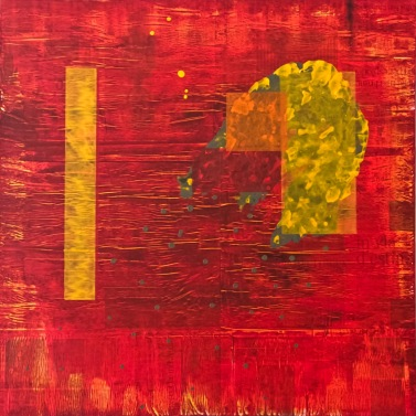 #10 - acrylic on newspaper pages and canvas, 100x100x3cm 40x40x1.2in (2017) - US$1,100