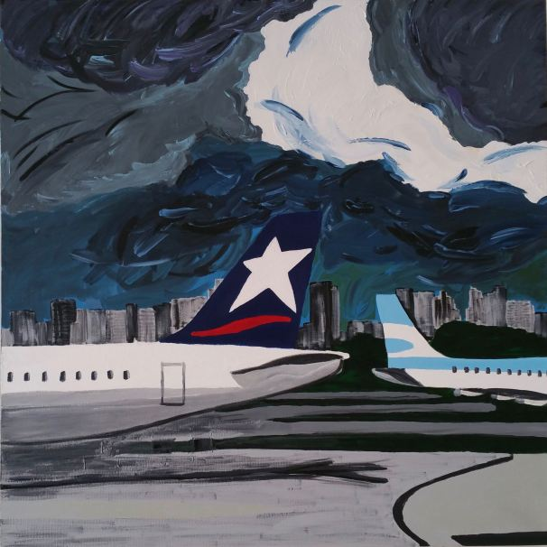 AEP from the serie #AirplanesAndAirports_ - 100x100cm 40x40in - acrylic on canvas, 2016 ©Michele Molinari - US$1,200